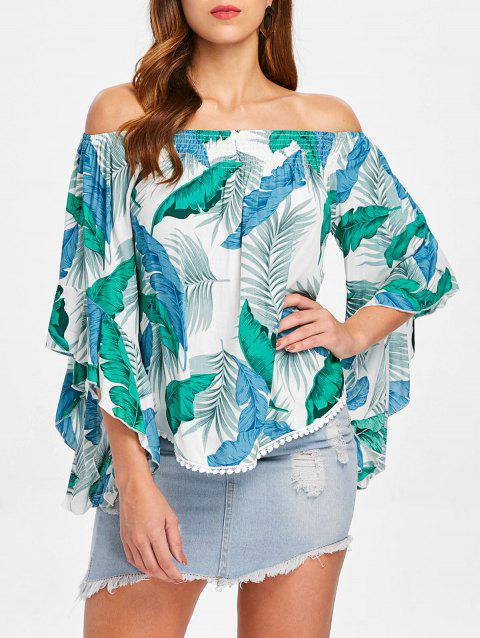Tropical Leaf Off The Shoulder Blouse - multicolor L