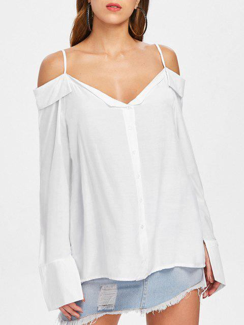 Open Shoulder Button Up Blouse - WHITE M