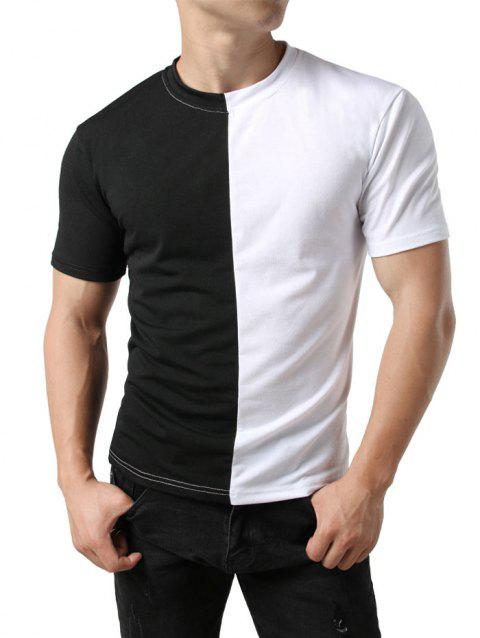 Contrast Color Patchwork Casual T-shirt - BLACK 2XL