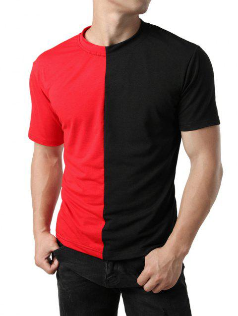 Contrast Color Patchwork Casual T-shirt - RED XL