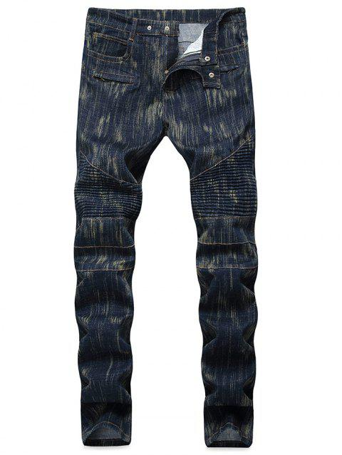 Vintage Splicing Pleated Moto Biker Jeans - DARK SLATE BLUE 40