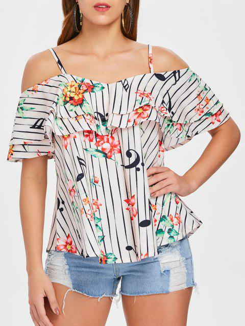 Flower and Stripe Printed Flounce Blouse - multicolor XL