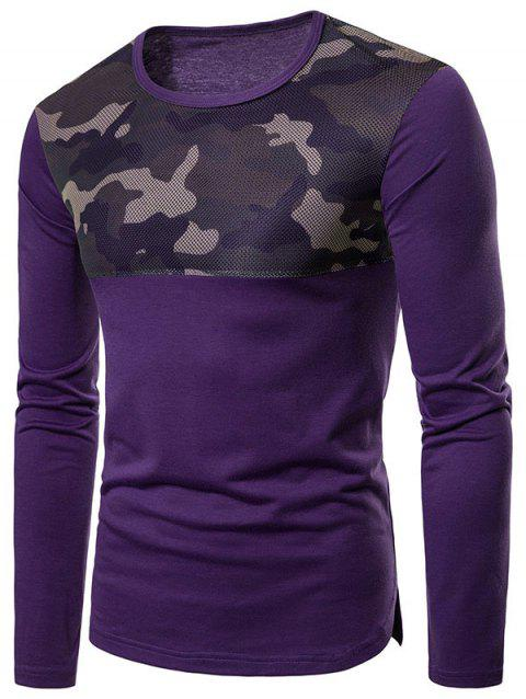 Camouflage Mesh Patchwork Casual T-shirt - PURPLE L