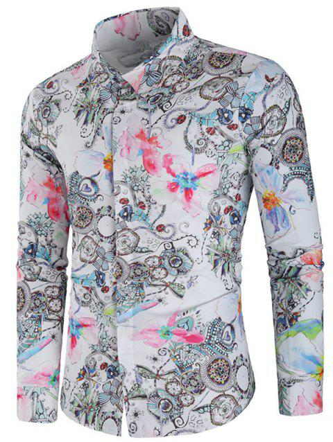 Casual Paint Flower Print Long Sleeve Shirt - multicolor M
