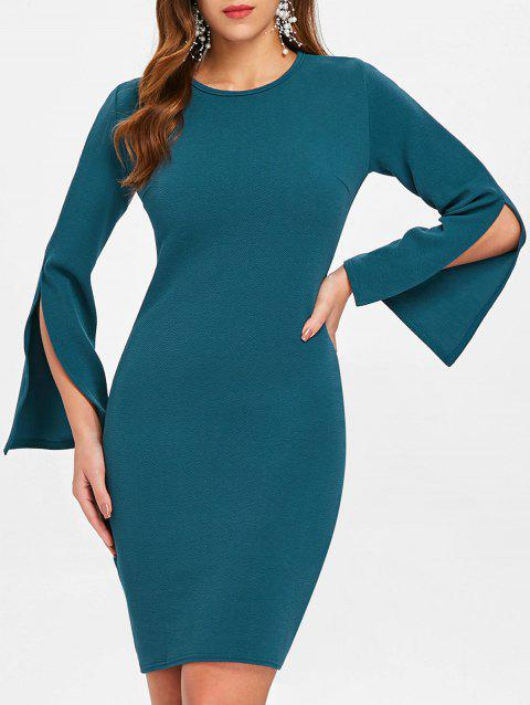 Mini Sleeve Slit Slim Fit Dress - GREENISH BLUE XL
