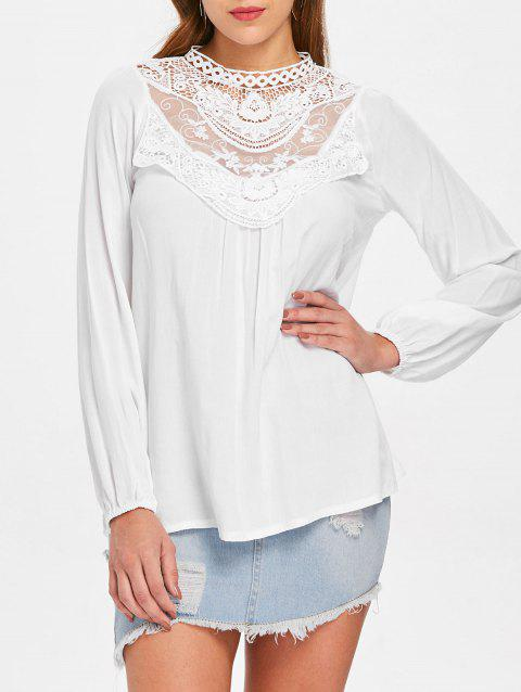 Floral Lace Crochet Blouse - MILK WHITE XL