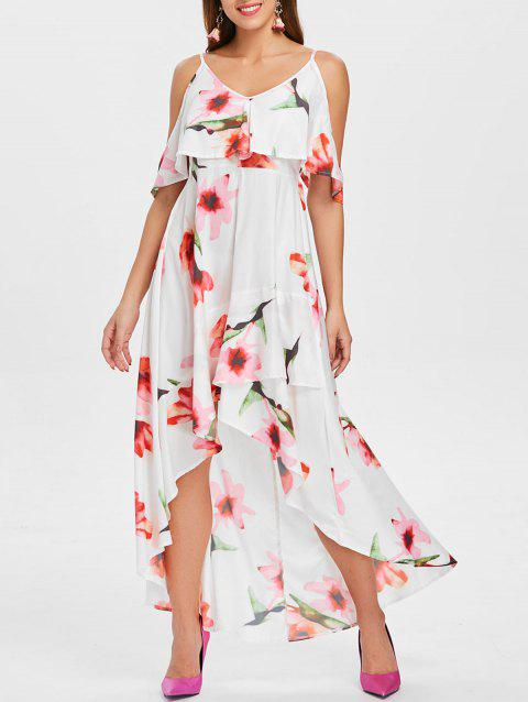 Floral Printed Long Flounce High Low Dress - WHITE XL