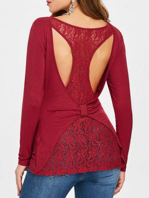 Cut Out Back Overlap Lace Panel T-shirt - RED WINE 2XL