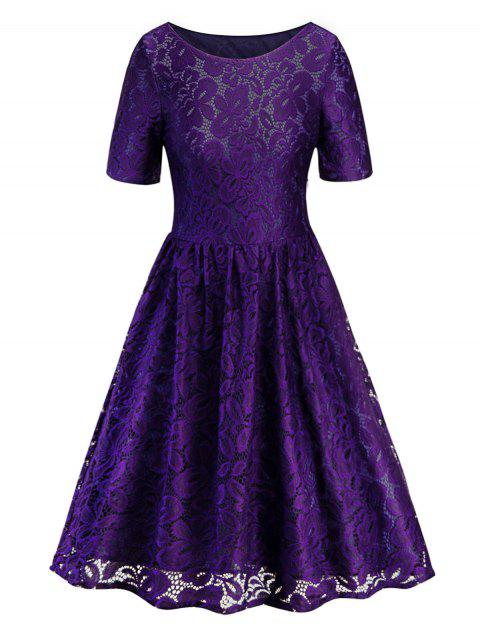 Lace Knee Length Dress - PURPLE M