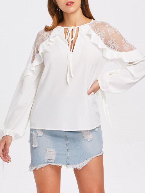 Ruffle Lace Shoulders Blouse - WHITE M