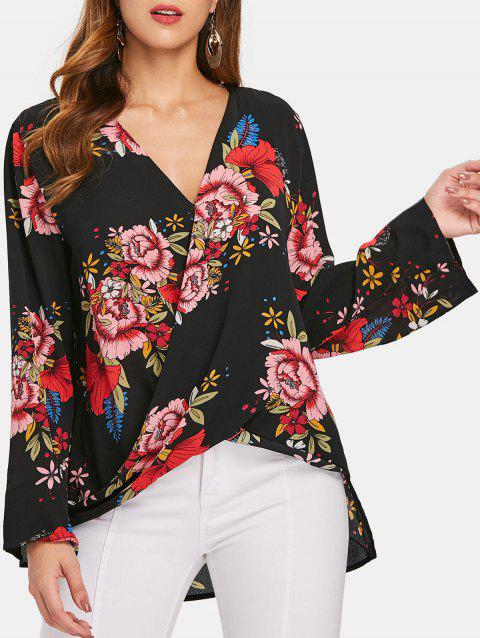 Plunging Neck Print Blouse - BLACK M