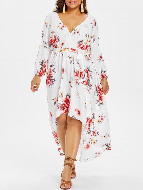 Plus Size Back Cut Out Floral Surplice Dress - WHITE 4X