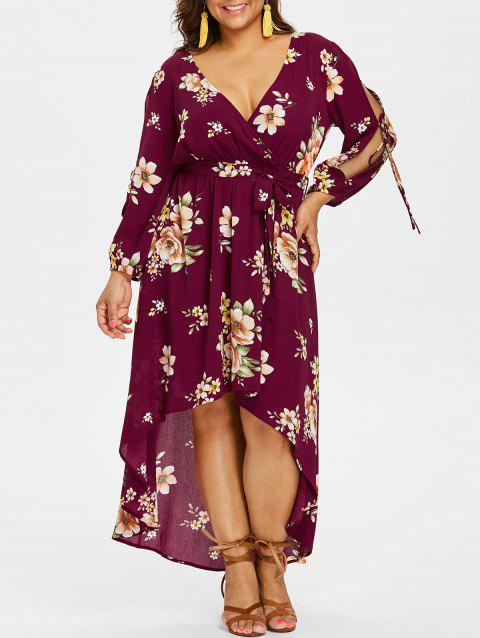 Plus Size Back Cut Out Floral Surplice Dress - RED WINE L