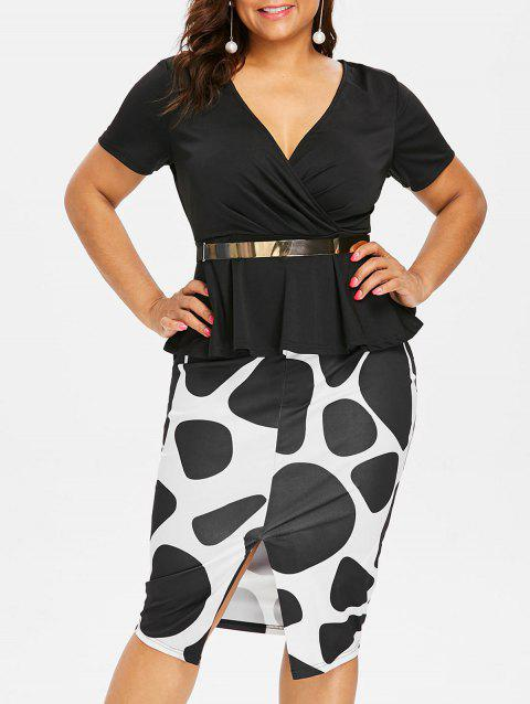 Plus Size Surplice Pencil Dress with Belt - BLACK 2X