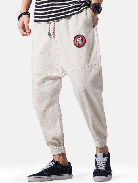 Graphic Embroidery Detail Applique Flatlock Seams Jogger Pants - LIGHT KHAKI M