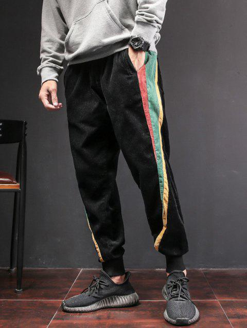 Side Contrast Patch Pocketed Jogger Pants - BLACK XL