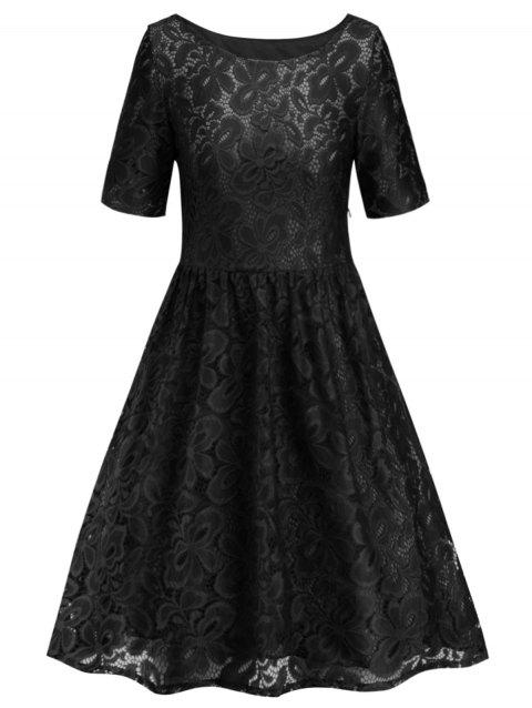 Lace Knee Length Dress - BLACK M