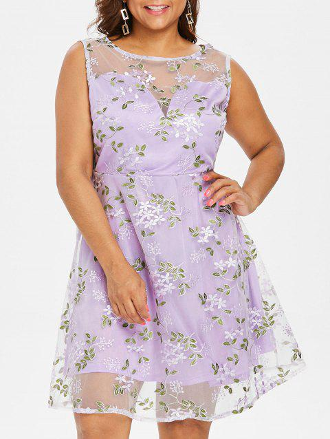Plus Size Back V Mesh Flared Dress - MAUVE 2X