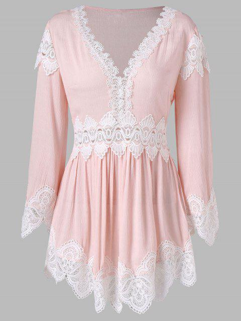 Lace Trim Long Sleeve Tunic Blouse - LIGHT PINK M