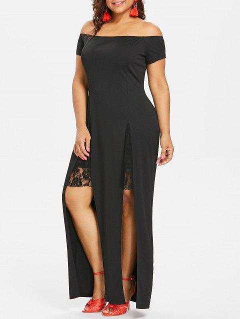 Plus Size Slit Lace Insert Dress - BLACK 2X