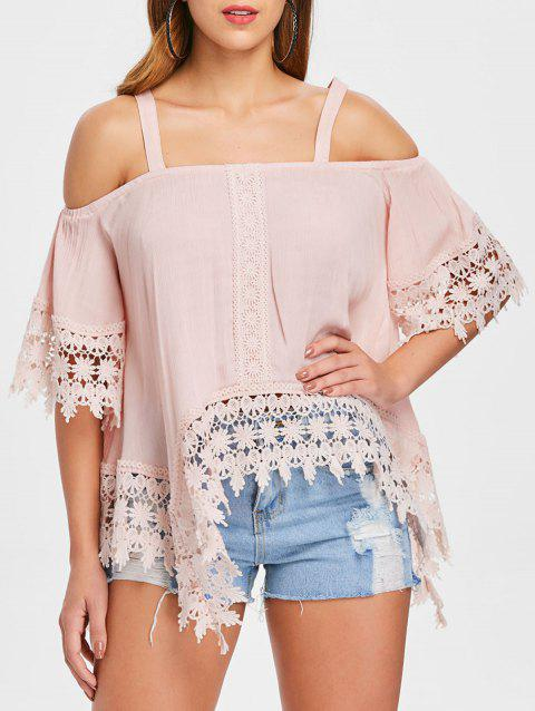 Asymmetrical Open Shoulder Lace Applique Top - LIGHT PINK M