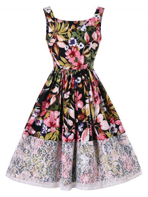 Lace Panel Blossom Print Sleeveless Dress - multicolor L