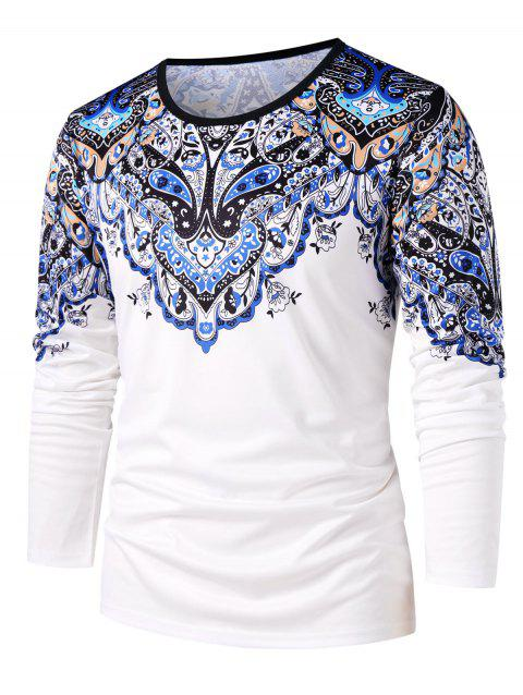 Round Neck Ethnic Flower Paisley Print T-shirt - MILK WHITE M