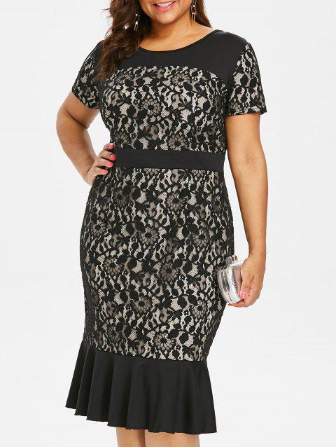 Plus Size Lace Panel Fitted Dress - BLACK 2X