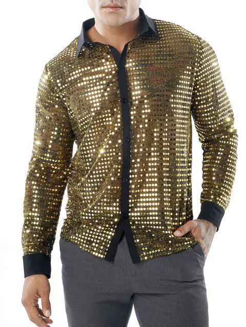 Sequin Mesh Long Sleeve Shirt - GOLD L