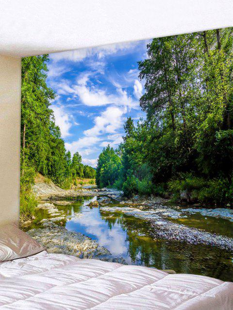 River Forest Blue Sky Printed Tapestry Wall Art - FOREST GREEN W91 INCH * L71 INCH