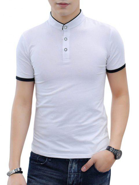 Contrast Color Stand Collar T-shirt - WHITE XL
