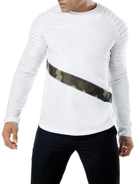 Camo Splicing Sleeve Pleated Design T-shirt - WHITE L