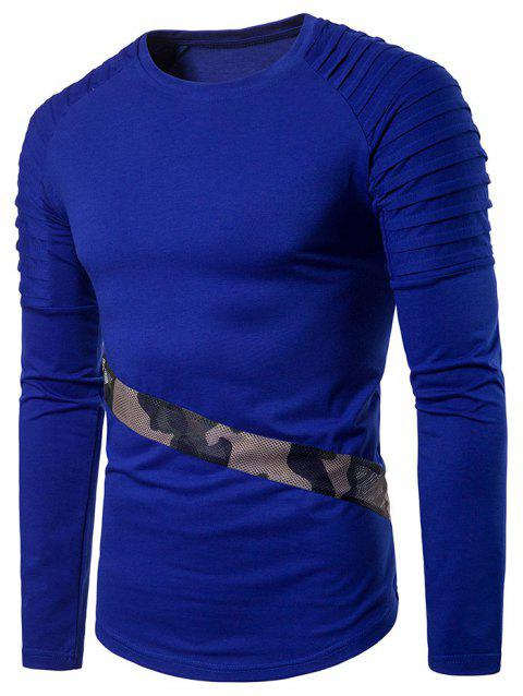 Camo Splicing Sleeve Pleated Design T-shirt - BLUE S