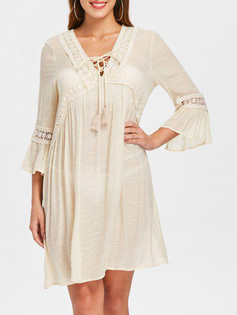 Crocheted Panel Tassel Lacing Beach Dress - WARM WHITE M