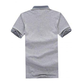 Stripe Trim Polo Collar Casual T-shirt - GRAY CLOUD XL