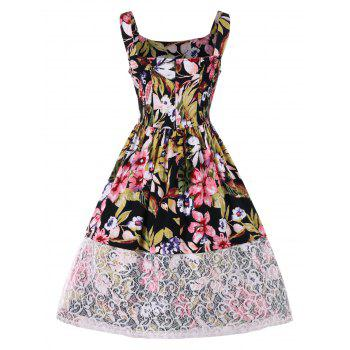 Lace Panel Blossom Print Sleeveless Dress - multicolor XL
