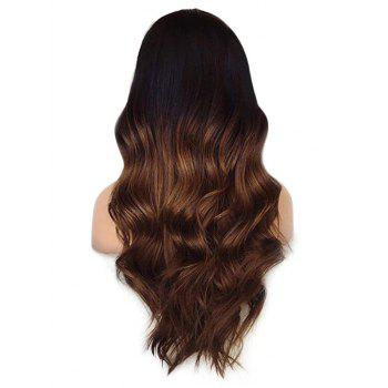 Center Parting Long Ombre Wavy Heat Resistant Synthetic Wig - multicolor