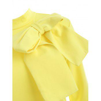 High Neck Bowknot Embellished Knee Length Dress - YELLOW M