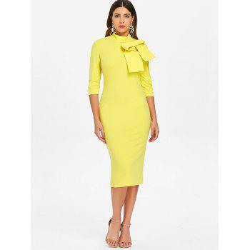 High Neck Bowknot Embellished Knee Length Dress - YELLOW XL
