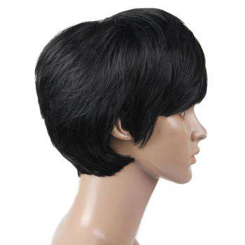 Short Straight Heat Resistant Synthetic Wig with Inclined Bang - NATURAL BLACK