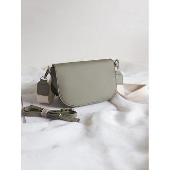 Double Straps Solid Flap Crossbody Bag - CAMOUFLAGE GREEN