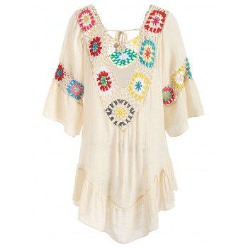 Flare Sleeve Flounce Crochet Panel Cover Up - CORNSILK ONE SIZE