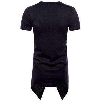 Asymmetric Short Sleeve Faux Twinset Tee - BLACK M