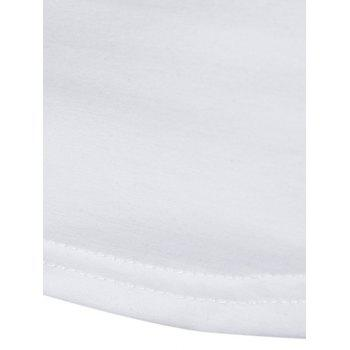 Camo Splicing Sleeve Pleated Design T-shirt - WHITE S
