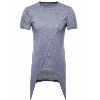 Asymmetric Short Sleeve Faux Twinset Tee - LIGHT GRAY XL