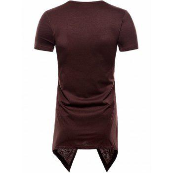 Asymmetric Short Sleeve Faux Twinset Tee - COFFEE 2XL