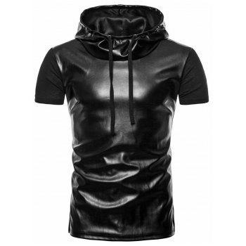 Artificial Leather Splicing Casual Hooded Tee Shirt - BLACK M