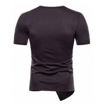 Asymmetric Short Sleeve Panel T-shirt - GRAY XL