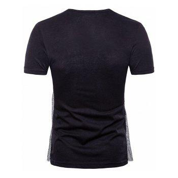 Voile Decorated Layered Tee Shirt - BLACK XL