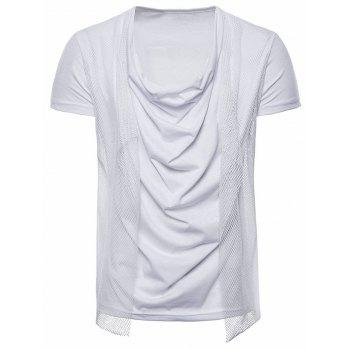 Voile Decorated Layered Tee Shirt - WHITE XL
